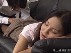 Sleeping Japanese girl wakes up and impales herself on a hard dick