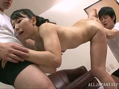 Sporty porn hot ass chick Ruriko Saimi gets nailed in fuck threesome