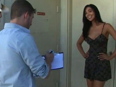 Nasty chick Kasey gives blowjob to a duo of well endowed dudes