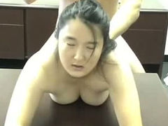 Asian co-worker gives a blowjob and a rimjob and gets fucked