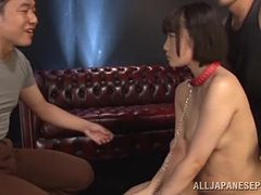 Dainty Japanese cowgirl giving blowjob in steamy MMF