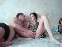 Russian amateur couple works on cowgirl pose and spoon position as well