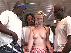 Mini-skirt clad blonde with a hot ass enjoying an interracial gangbang