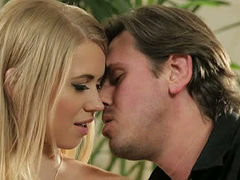 Long legged blond fuck doll Violette Pink is gonna swallow two big dicks
