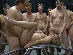 Several furious studs fuck one trashy looking chick and cum on her face