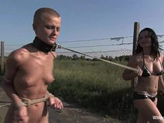 Bald girl gets punished and humiliated outdoors