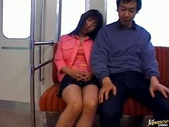 Touching and Fingering Asian Risa Sakiyama in the Train