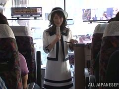 Kinky Kozue Hirayama gives a blowjob in a bus
