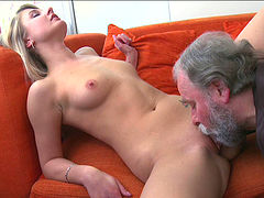 Alluring blonde dish gets nailed after giving head to a grandpa
