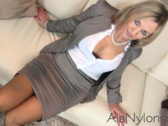 Sexy mature executive in nylons