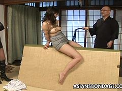 Exotic Asian dame in bondage getting drilled using a toy in BDSM sex