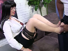 Raven haired whorish wench in glasses Larkin Love rubs BBC with feet