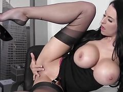 Big tit ecretary in stockings