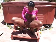 Black girl garden piss