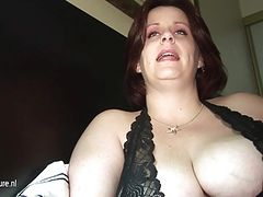 Big breasted mom getting pee and cum