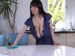 Big Boob Asian Blue Skirt Cleaning 1080p