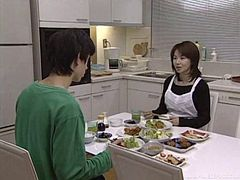 Japanese housekeeper does the dishes then works his cock