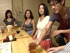 Asian girls reverse gangbang the waiter at their restaurant