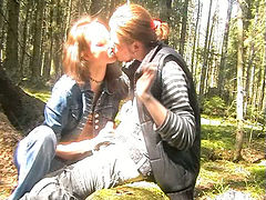 Cute Russian girl in the woods is blowing and fucking her boyfriend
