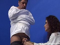 A cute lady doctor seducing her patient for a wild fuck session
