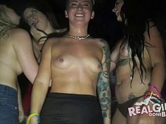 Nauhgty amateur party sluts will flash their tits for you