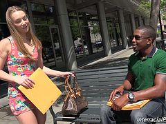 Blonde cutie Sadie Blair is lured by a handsome black guy