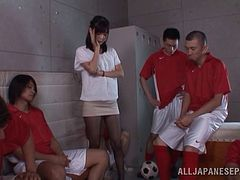 Japanese Cowgirl Gangbanged Hardcore In her Locker Room