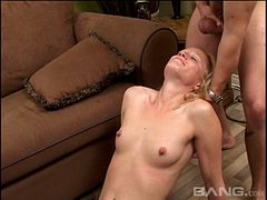 Fascinating blonde is quite happy to put the cock inside her mouth