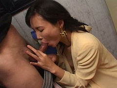 Asian milf masturbates in the toilet and gives a blowjob to her hubby