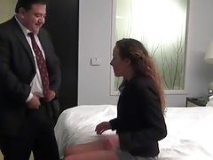 Fat boss fuck his young married secretary in hotel