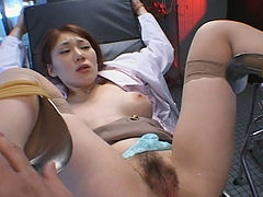 Runa Tominaga getting hammered hard in a doggy position