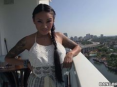 Tattooed hottie Natalia Mendez hammered with bbc by her horny buddy
