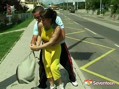 Jogging sweetheart with nice natural tits gets rammed deep