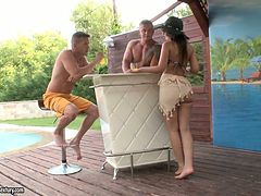 Sextractive brunette Anina Silk gets a DP in MMF threesome
