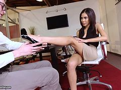 Brunette beauty with big boobs Shay Evans gets her shaved cunt hammered