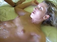 Guys fucking and shooting their loads on this blonde