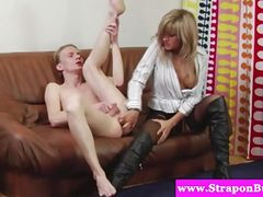 Femdom strapon babe pegs dude after fingering his ass