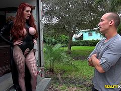Veronica rips the crotch out of he fishnets so she can mount up on his cock