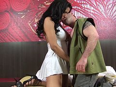 Bewitching dark-haired tranny with big gorgeous tits and long slim legs getting her asshole licked