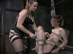 Completely tied lesbian chick Mercy West had nasty sex with her freaky pal
