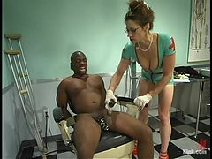 Gorgeous and super hot nurse makes fun of her black patient