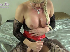 Blond shemale Joanna Jet playing with her New Toys