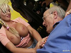 Precious bimbo with big tits enjoys getting her asshole fingered then drilled hardcore