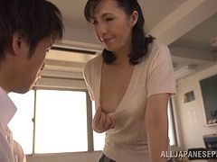 Mature Japanese professor can't resist a 20 y.o. handsome guy