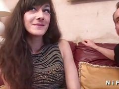 Casting of a pretty small titted brunette hard sodomized