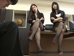 Two delicious Japanese office giving a great footjob