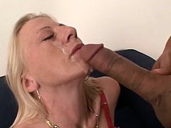 Voracious blonde MILF blows long meat pole like a pro