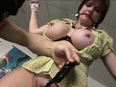 Mature british bound bitch rides cock