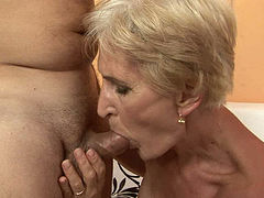 Ardent brunette grandma gets her bushy cunt fucked up missionary