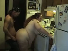 Extremely fat amateur fatso gets her hungry cunt nailed in the kitchen